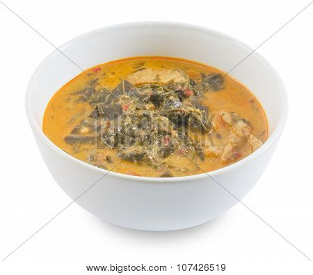 Thai Cuisine and Food A Delicious Thai Spicy Creamy Coconut Milk Curry with Cassia Leaves and Grilled Beef Fillet. poster