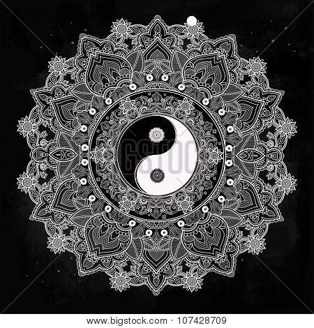 Yin and Yang mandala symbol.