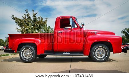 Red 1955 Ford F-100 Pickup Truck