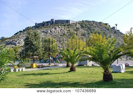 view on famous fortress Rozafa in Shkoder, Albania poster