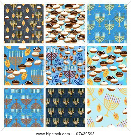 Hanukkah Seamless Pattern Set