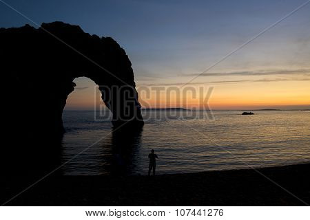 Beautiful Sunset Silhouette Landscape Image Of Durdle Door In England