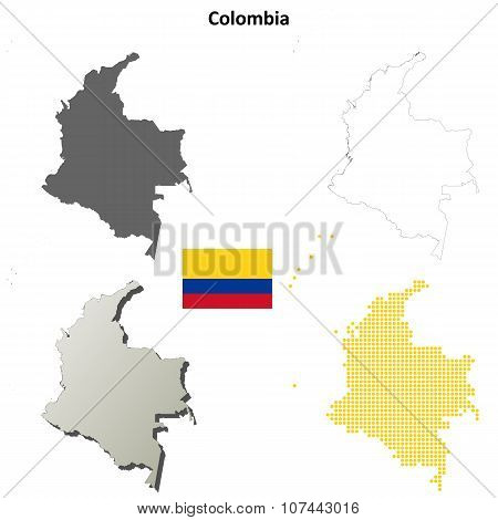 Colombia outline map set