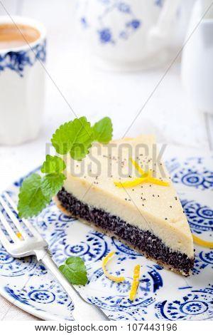 Poppy seed cream tart, cake, pie slice with lemon zest