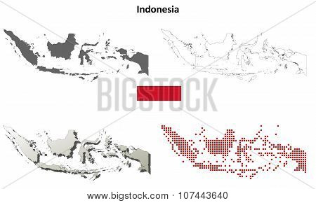 Indonesia outline map set