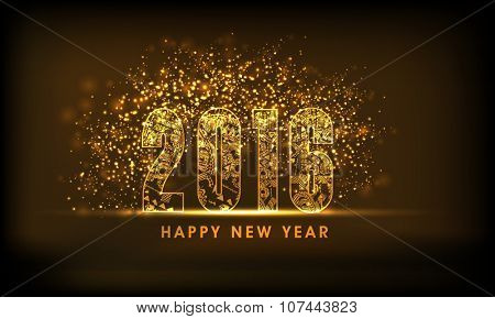 Creative golden text 2016 decorated by floral design on shiny brown background for Happy New Year celebration.
