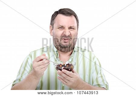 Guy is disgusted by beetroot salad