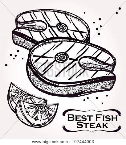 Fish Steak meat and lemon illustration.