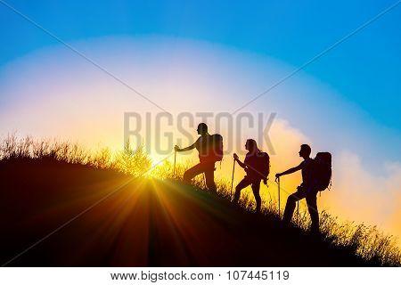 People meeting sunrise team building session