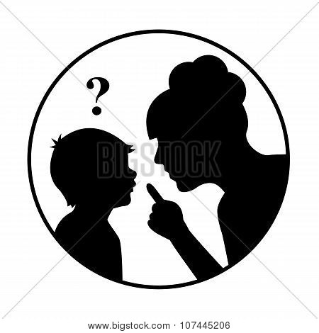 silhouette mother scolds a child