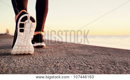 Runner Man Feet Running On Road Closeup On Shoe. Male Fitness Athlete Jogger Workout In Wellness Con