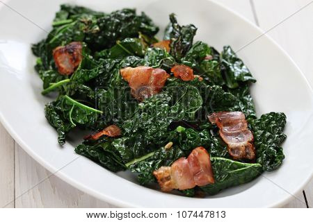 sauteed black kale and bacon