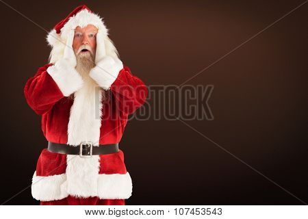 Santa is shocked to camera against dark brown background