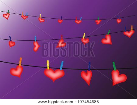 Hearts hung on a washing line with pegs on a purple background poster