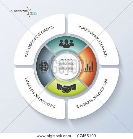 Infographic Template For Business Project Or Presentation With Circle And Four Segments. Vector