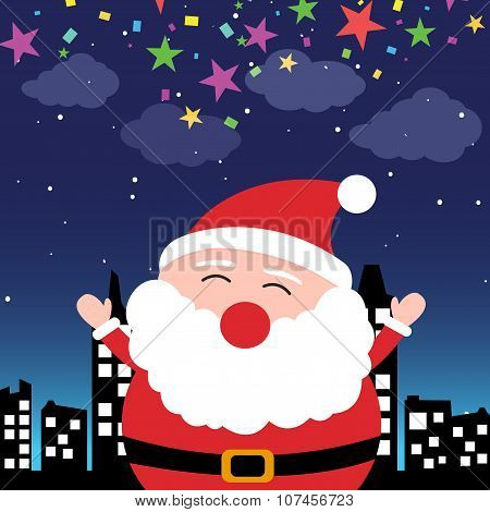 Santa Claus in the city at night