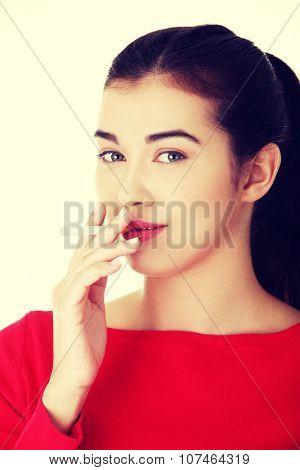 Young woman smoking electronic cigarette ,ecigarette