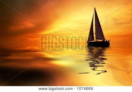Segeln und Sonnenuntergang