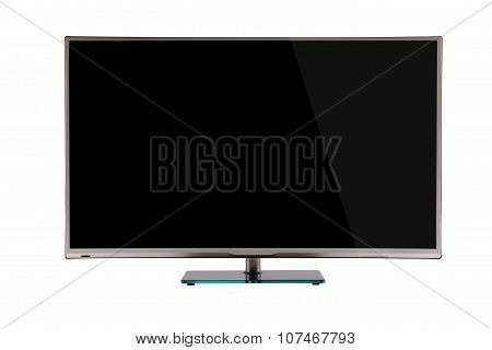 Modern Thin Plasma Lcd Tv On A Silver Black Glass Stand Isolated On A White Background