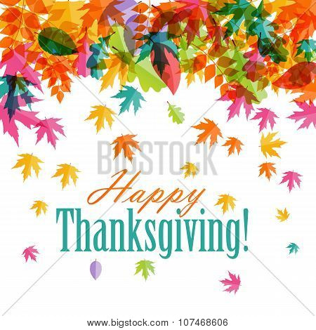 Happy Thanksgiving Day Background with Shiny Autumn Natural Leav