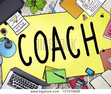 Coach Coaching Guide Instructor Leader Manager Tutor Concept poster