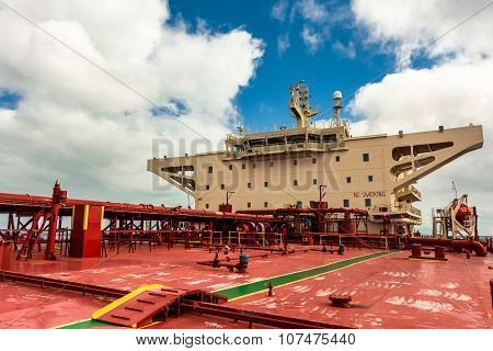 Superstructure of the crude oil tanker.