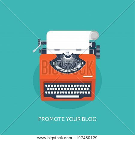 Vector illustration.  Flat typewrite. Tell your story. Author. Blogging.
