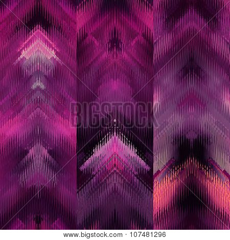 art colorful ornamental ethnic styled seamless pattern with vertical rows; blurred watercolor background in fuchsia, purple, pink, orange coral, red, white and violet colors