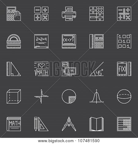 Mathematics icons set - vector collection of geometry, algebra, math signs or design elements poster