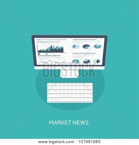 Vector illustration. Flat background. Market trade. Trading platform ,account. Moneymaking,business.