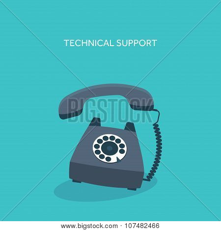 Vector illustration. Retro telephone. Technical online support.