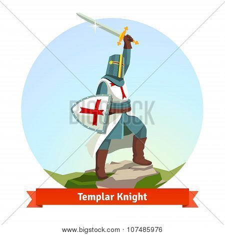 Knight Templar in armour with shield and sword