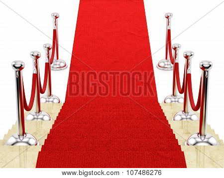 silver stanchions and a red carpet