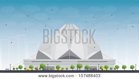 The Lotus Temple, located in New Delhi, India, is a Bahai House of Worship. Business travel and tourism concept with historic building. Image for presentation, banner, placard and web site.
