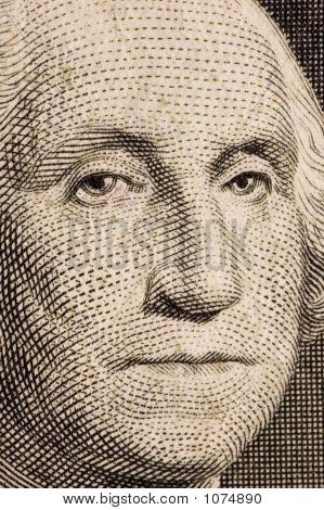 Washington On A $1 Bill Extreme Close Up