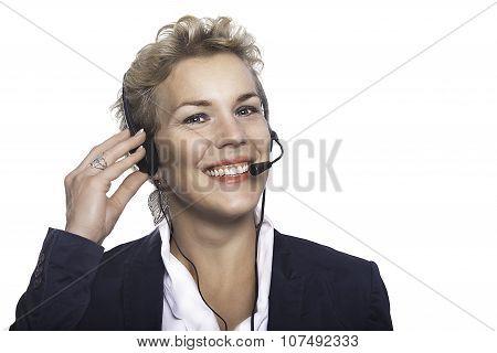 Joyful Woman Callcenter Operartor.