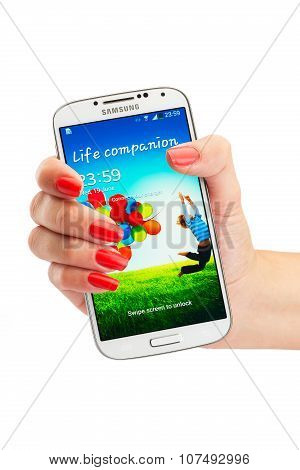 Varna, Bulgaria - June 19, 2013: Cell Phone Model Samsung Galaxy S4 Has Super Amoled Capacitive Touc
