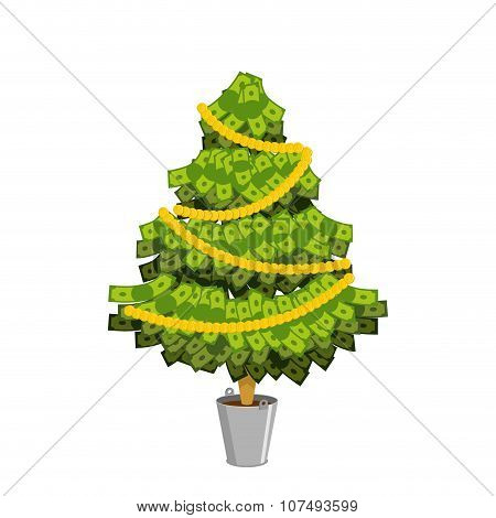 Money Tree. Christmas Tree From Dollar. Leaves From Banknotes. Tree Of Cash. Financial Tree