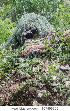 Navy Seal Sniper with rifle in action poster