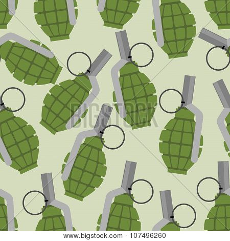 Green Grenade Seamless Pattern. Background Military Projectile. Texture Of An Army Ammunition. Manua