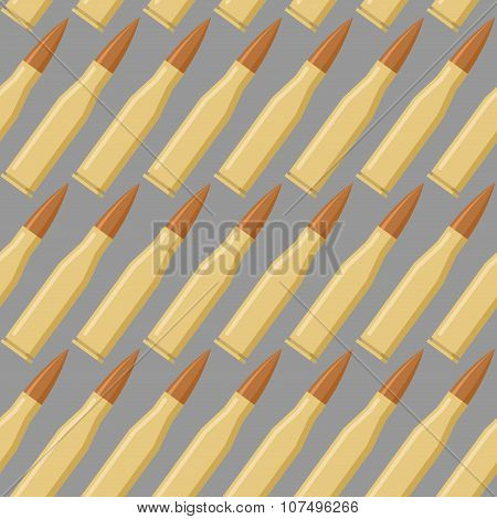 Ammo Seamless Pattern. War Accessory Texture. Bullet Repeating Background. Soldiers Ammunition.