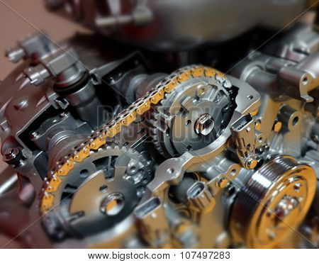 Car, automobile or vehicle engine or motor to illustrate technology, power and precision