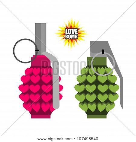 Love Bomb. Hand Grenade From  Hearts. Pink Military Projectile Hippies. Munition With Love. Breaking