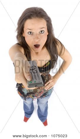 Young Woman With Remote Control Looks Shocked