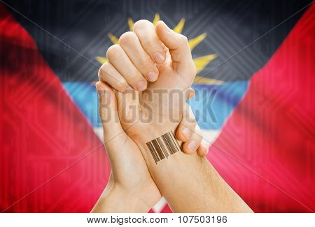 Barcode Id Number On Wrist And National Flag On Background - Antigua And Barbuda