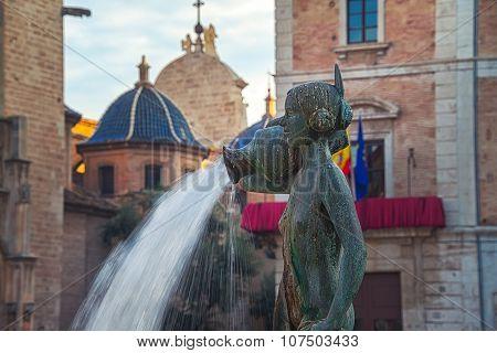 Close view of Rio Turia fountain in Valencia