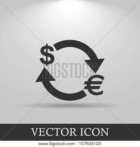 Money convert icon. Euro Dollar. Flat design style poster