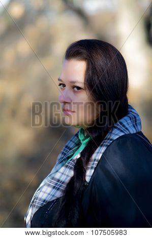 Beautiful Woman In Autumn Cold.