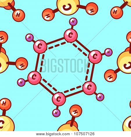 Seamless Vector Pattern With Chemical Elements. Benzene And Methane.