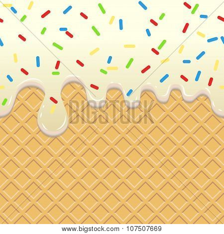 Flowing  Ice Cream on waffle